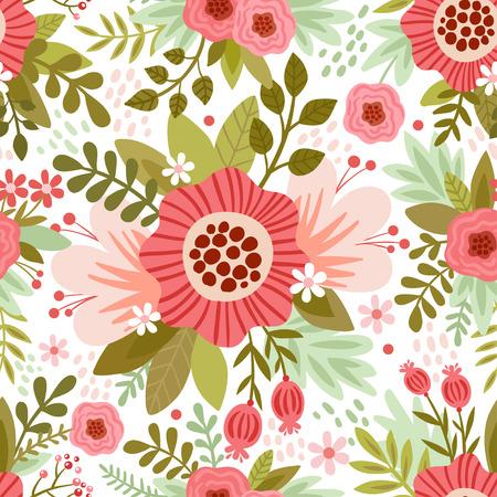 白地に色とりどりの花でシームレスなパターンをベクトルします。
