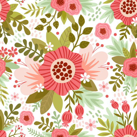Vector seamless pattern with colorful flowers on a white background.