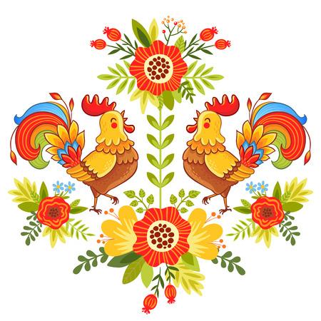 白い背景に明るくカラフルな鶏花のベクトル イラスト。