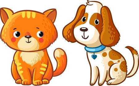puppy dog: Cat and Dog. Vector illustration in cartoon style. Illustration
