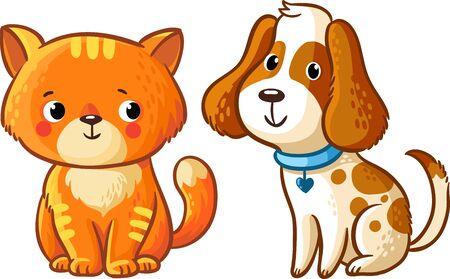 perros graciosos: Gato y perro. Ilustración del vector en estilo de dibujos animados.