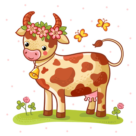 cow bells: Cartoon cow that stands on a lawn with flowers and butterflies.