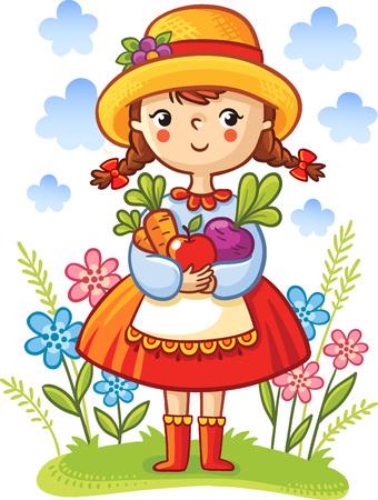 손에 야채와 소녀입니다. 귀여운 만화 벡터 일러스트 레이 션.