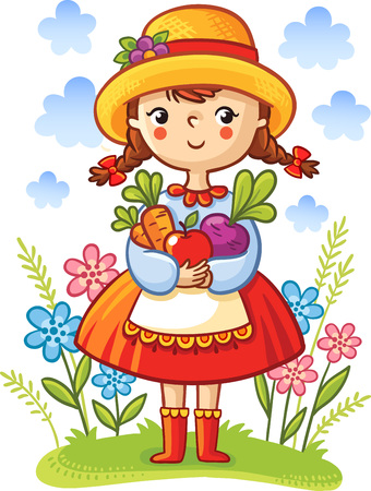 woman gardening: Girl with vegetables in the hands. Cute cartoon vector illustration.