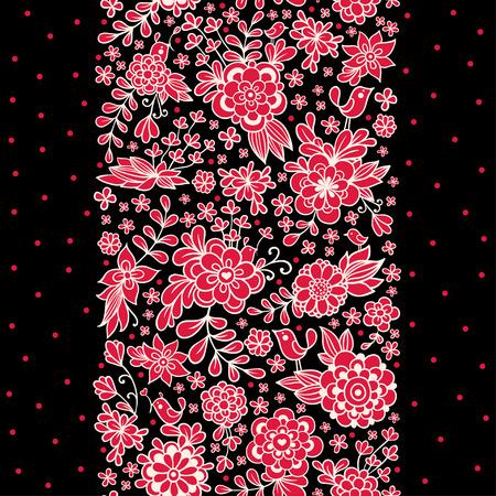 黒い背景にシームレスな花飾りのイラストです。