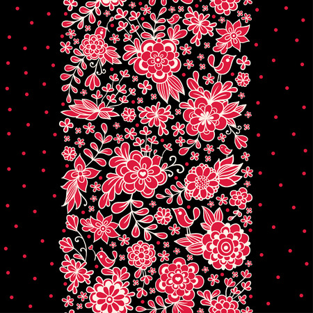 illustration of a seamless floral ornament on a black background.