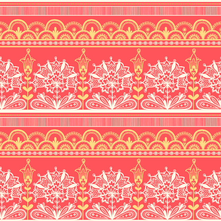seamless pattern: Seamless color lace pattern, flower vintage background. Old lacy borders.