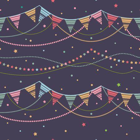Bunting banderín del partido. Fiesta de fondo sin fisuras. Ilustración inconsútil del vector con las cintas de banderas festivas.