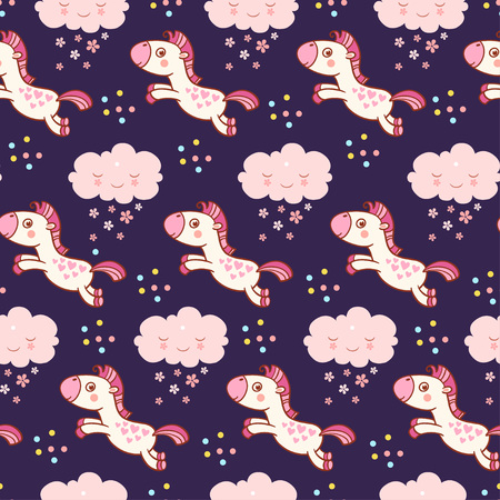 yong: Seamless pattern with with horses and clouds in cartoon vector. Baby cute pattern. Illustration