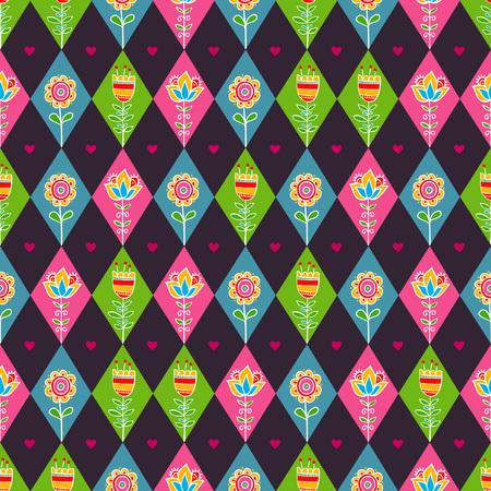 corazones azules: rombo patrón floral sin fisuras. Ilustración inconsútil del vector con los diamantes y flores. Vectores