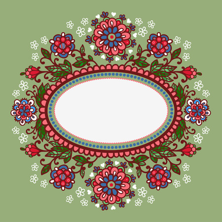 lacework: Oval frame with flowers. Vector.Hand-Drawn Abstract Decorative Sketchy Notebook Drawing Vector Illustration with Oval Frame Shape.