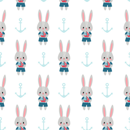 small children: Children sea pattern with small rabbits and anchors.