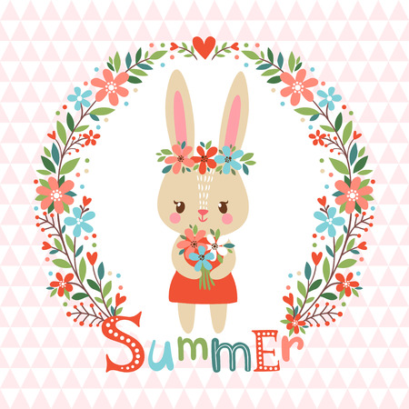baby animal: Summer background with cute bunny and flower frame. Illustration vector.