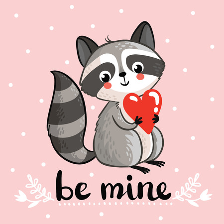 hands in: Vector illustration with cute raccoon holding in the hands of the heart. Perfect for greeting cards for Valentines Day. Illustration
