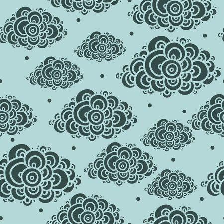 Seamless abstract hand-drawn pattern, clouds background. Seamless background with clouds. Vector illustration.