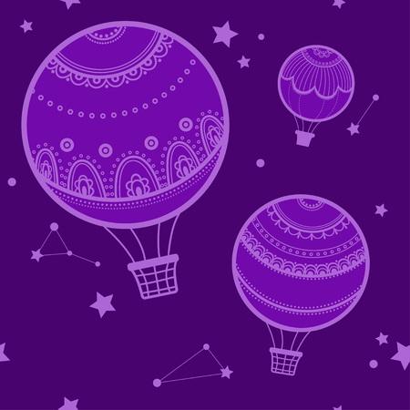 estrella caricatura: Fondo con los globos de aire caliente, la noche y los globos de aire caliente. ilustración vectorial de globos de aire caliente, el cielo estrellado.