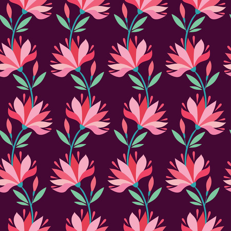 burgundy background: Vector background illustration with flowers on burgundy background.