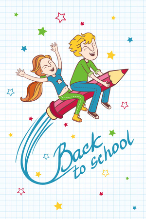 cartoon school girl: Boy and girl flying on a pencil. Background back to school. Cartoon illustration with children.