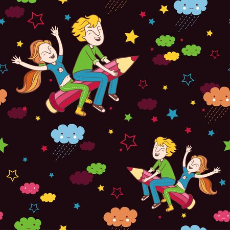 night school: Back to school pattern. Background with children flying on a pencil.