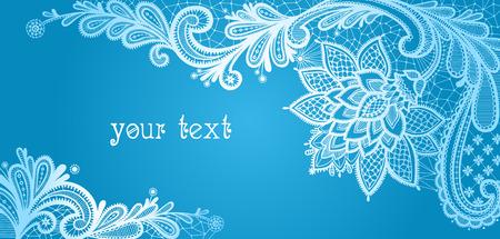 Winter. Kant achtergrond met een plaats voor tekst. Blauw en wit kant vector ontwerp. Stock Illustratie