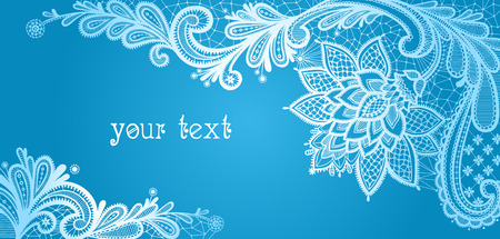 Winter. Lace background with a place for text. Blue and white lace vector design. Ilustração
