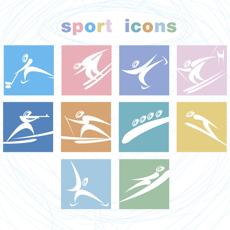 olimpic: A set of sport icons. Winter games icon set.