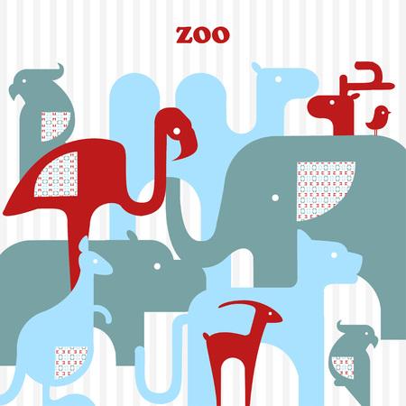australian animals: Vector illustration of icons tropical and Australian animals.