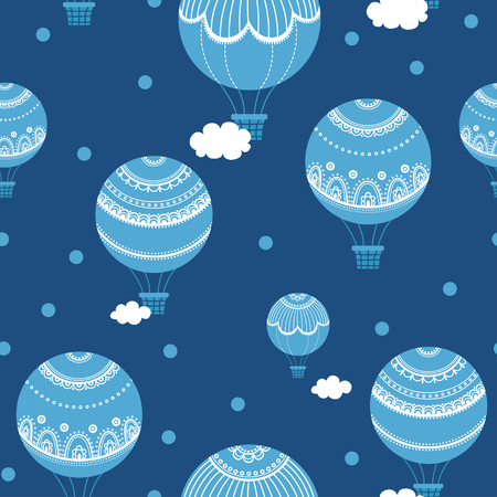 hot air balloons: Background with hot air balloons. Vector illustration of colorful hot air balloons. Vintage seamless pattern.