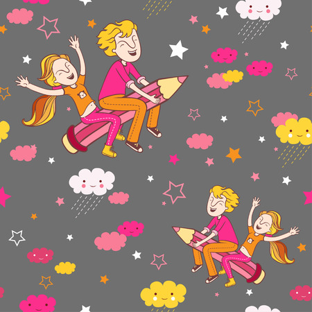 teenagers learning: Back to school pattern. Background with children flying on a pencil.