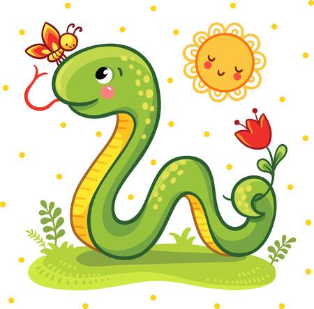 Vector illustration d'un dessin animé de serpent et un papillon sur la pelouse ensoleillée. Vecteurs