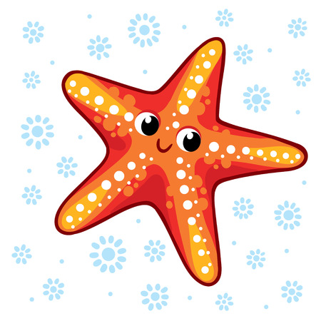 Starfish. Cartoon starfish vector illustration. Sea animal Starfish isolated on a white background. Ilustração