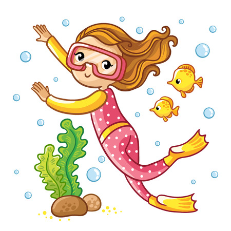 woman underwater: Scuba Diving. Girl swimming under water with fish. Illustration