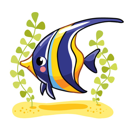 exotic fish: Cute fish zanclus in vector illustration. Tropical reef fish isolated on white background. Kids fish. Illustration