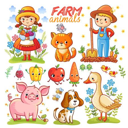 Bauernhof Cartoon mit Nutztieren, Gemüse und Zeichen gesetzt. Vektorgrafik