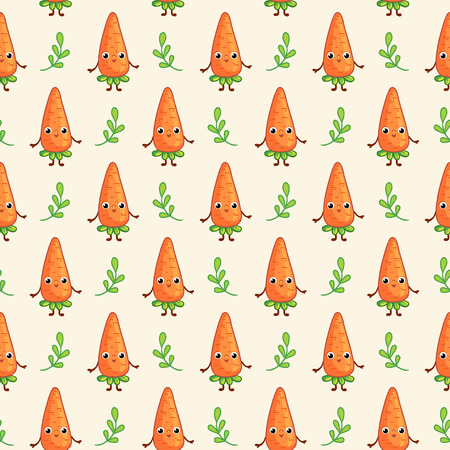 marchew: Vector seamless pattern with cute Carrots on dark background. Cartoon vegetable character Carrot.
