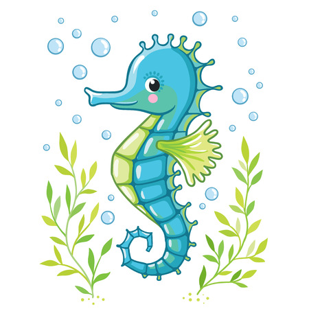 Cute cartoon Sea horse isolated. Seahorse and algae on a white background, vector illustration. Stock Illustratie