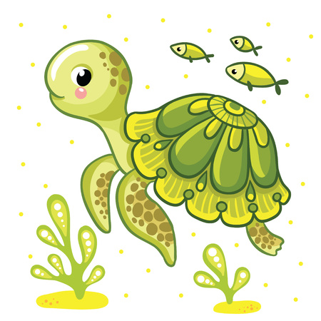 Cute cartoon turtle isolated. Turtle and fish on a white background, vector illustration.