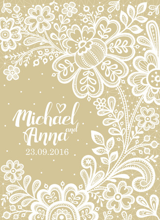 greeting card background: Lace. Card with a white lace. Floral Background Lace. Wedding invitation lace.Vector greeting card. Illustration