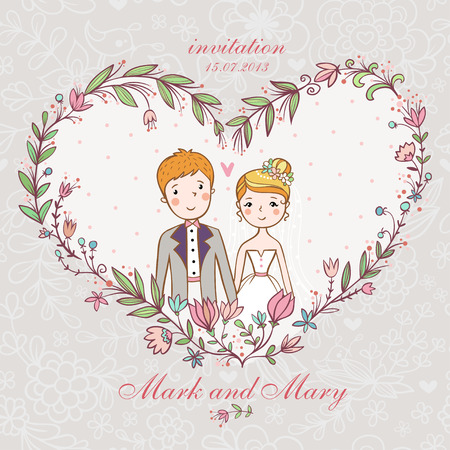 Cartoon concept marriage. Wedding invitation with bride and groom in a flower heart. Vector Illustration