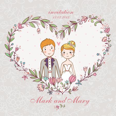 Cartoon concetto di matrimonio. Invito a nozze con la sposa e lo sposo in un cuore di fiori. Archivio Fotografico - 58387044