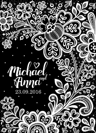 lace vector: Black and White Lace. Floral Background Lace. Wedding invitation card. Vector greeting card.