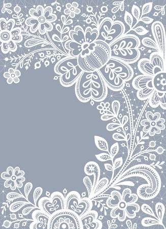 Encaje blanco. Atan el fondo floral. tarjeta de invitación de la boda con el cordón. Foto de archivo - 58387082