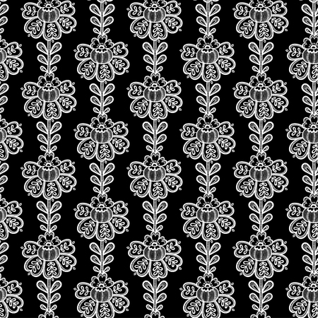 Lace seamless pattern with flowers. Black and white lace floral background. Stock  Vector - a790264e5