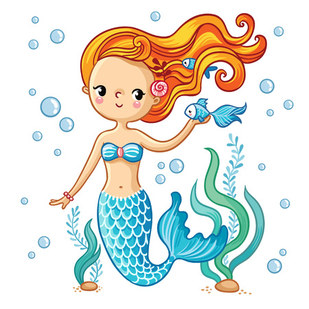 Sea collection, Mermaid. Cute swimming cartoon mermaid. Mermaid in vector illustration. Çizim
