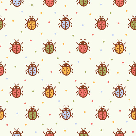 Seamless pattern with Ladybugs on white background in vector.