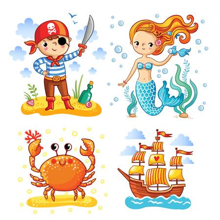 Set d'illustrations vectorielles sur le thème de la mer et en été. Jeune pirate avec le ballon. Mermaid aux cheveux longs parmi les algues. Crab sur une île de sable. Voilier dans la mer. Banque d'images - 58387196