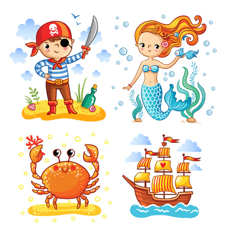 pirate girl: Set of vector illustrations on the theme of the sea and summer. Young pirate with the ball. Mermaid with long hair among the seaweed. Crab on a sandy island. Sailing ship in the sea.
