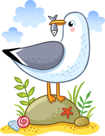 beak: Cute cartoon vector seagull on a rock holding a fish in its beak. Summer fun illustration of a bird on a sandy island.