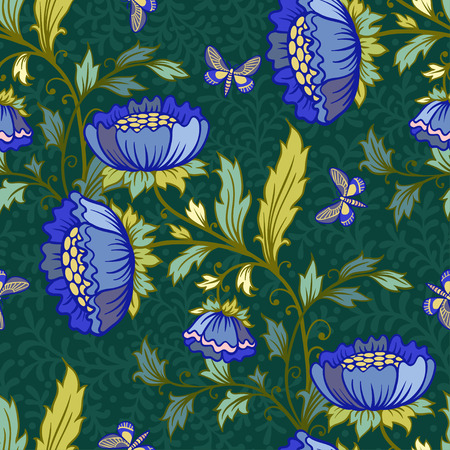 flower blooming: Vector floral seamless pattern with butterflies and flowers.