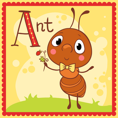 alphabet kids: Illustrated alphabet letter A and ant. Animals.